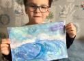 После прослушивания классической музыки под впечатлением Кирилл нарисовал шторм
